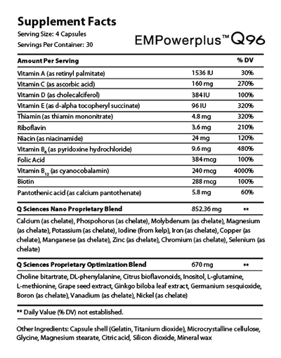 EMPowerplus Q96 nutrition facts